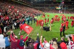 Equipe do rugby dos vermelhos de Queensland fotos de stock