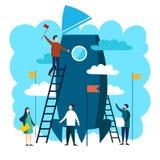 Equipe do trabalho que constrói o vetor do foguete ilustração do vetor