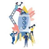 Equipe do trabalho que constrói o vetor do foguete ilustração royalty free
