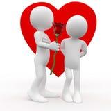 Equipe a doação uma mulher de uma rosa, um sinal do amor Imagens de Stock