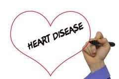 Equipe a doença cardíaca da escrita da mão com o marcador na limpeza transparente b Fotografia de Stock Royalty Free