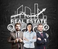Equipe dos bens imobiliários, quadro-negro Foto de Stock