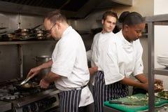 Equipe dos cozinheiros chefe que preparam o alimento Foto de Stock Royalty Free
