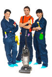 Equipe dos trabalhadores do serviço da limpeza Imagem de Stock Royalty Free