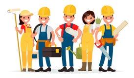 A equipe dos trabalhadores está construindo uma casa Contramestre, pintor, bonde Imagens de Stock Royalty Free