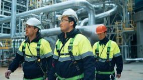 Equipe dos trabalhadores que andam na planta do combustível video estoque