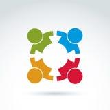 Equipe dos trabalhos de equipa e do negócio e ícone da amizade, grupo social, ou Fotos de Stock Royalty Free