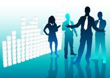 Equipe e gráfico do negócio Imagens de Stock