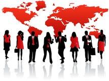 Equipe e mapa vermelhos Fotos de Stock