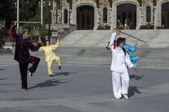 Equipe e três mulheres em equipamentos asiáticos que participam em uma demonstração de Tai Chi imagem de stock