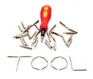 Equipe el juego de herramientas amarillo de las cabezas del destornillador aislado en blanco Imágenes de archivo libres de regalías