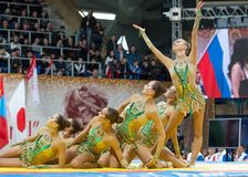 Equipe estética da ginástica nacional do russo em um tatami Foto de Stock Royalty Free