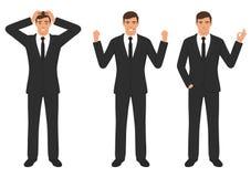 Equipe expressões de caráter com gesto de mãos, emoção diferente da sagacidade do homem de negócios dos desenhos animados Foto de Stock