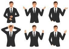 Equipe expressões de caráter com gesto de mãos, emoção diferente da sagacidade do homem de negócios dos desenhos animados Fotos de Stock