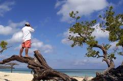 Equipe a factura de uma fotografia na praia em Cuba Imagem de Stock Royalty Free