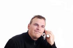 Equipe a fala em seu móbil Foto de Stock