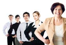 Equipe feliz isolada do negócio Imagens de Stock Royalty Free