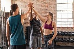 Equipe feliz que dá altamente cinco no gym imagens de stock