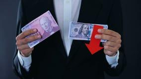 Equipe guardar cédulas, franco suíço relativo de queda do dólar, previsão financeira vídeos de arquivo