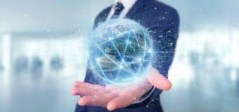 Equipe guardar a conexão em torno de um renderin 3d isolado globo do mundo Imagens de Stock Royalty Free