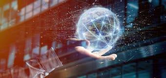 Equipe guardar a conexão em torno de um renderin do globo 3d do mundo Fotos de Stock Royalty Free