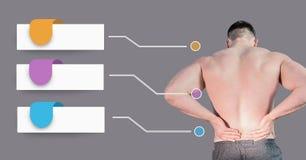 Equipe guardar a dor nas costas com os painéis infographic vazios da carta imagens de stock royalty free