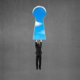 Equipe guardar e pendurar na parede com furo chave da forma Imagens de Stock Royalty Free