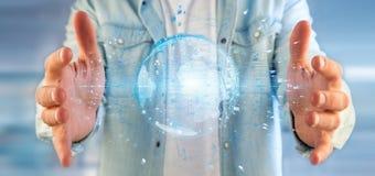 Equipe guardar um globo da terra dos dados da rendição 3d Imagens de Stock Royalty Free