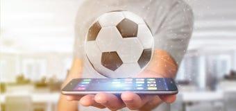 Equipe guardar um renderin da bola e da conexão 3d do futebol Fotografia de Stock Royalty Free
