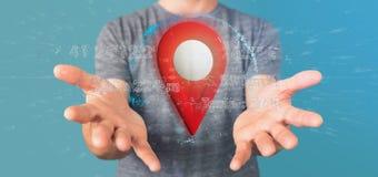 Equipe guardar um suporte do pino da rendição 3d em um globo com coordenada Imagens de Stock