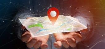 Equipe guardar um suporte do pino da rendição 3d em um mapa Fotos de Stock Royalty Free