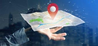 Equipe guardar um suporte do pino da rendição 3d em um mapa Fotos de Stock