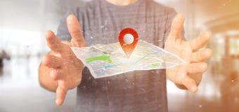 Equipe guardar um suporte do pino da rendição 3d em um mapa Fotografia de Stock