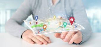 Equipe guardar um suporte do pino da rendição 3d em um mapa Imagens de Stock Royalty Free