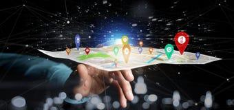 Equipe guardar um suporte do pino da rendição 3d em um mapa Imagem de Stock Royalty Free