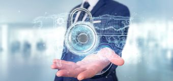Equipe guardar uma rendição da relação 3d da tecnologia de segurança do cadeado Imagens de Stock