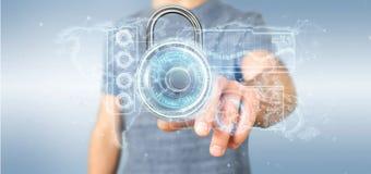 Equipe guardar uma rendição da relação 3d da tecnologia de segurança do cadeado Fotos de Stock