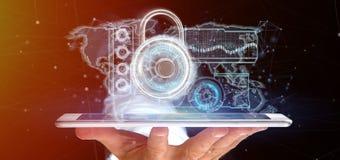 Equipe guardar uma rendição da relação 3d da tecnologia de segurança do cadeado Imagens de Stock Royalty Free