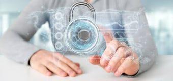 Equipe guardar uma rendição da relação 3d da tecnologia de segurança do cadeado Foto de Stock