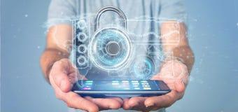 Equipe guardar uma rendição da relação 3d da tecnologia de segurança do cadeado Imagem de Stock