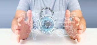 Equipe guardar uma rendição da relação 3d da tecnologia de segurança do cadeado Fotos de Stock Royalty Free