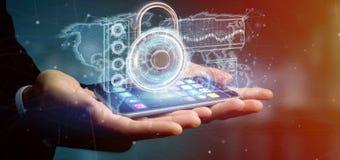 Equipe guardar uma rendição da relação 3d da tecnologia de segurança do cadeado Fotografia de Stock