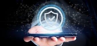 Equipe guardar uma rendição do conceito 3d da segurança da Web do protetor Foto de Stock Royalty Free