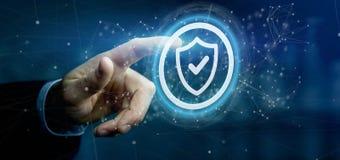 Equipe guardar uma rendição do conceito 3d da segurança da Web do protetor Imagens de Stock