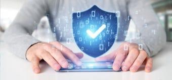 Equipe guardar uma rendição do conceito 3d da segurança da Web do protetor Imagem de Stock