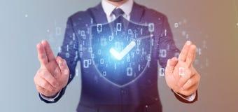 Equipe guardar uma rendição do conceito 3d da segurança da Web do protetor Foto de Stock