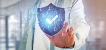 Equipe guardar uma rendição do conceito 3d da segurança da Web do protetor Fotografia de Stock