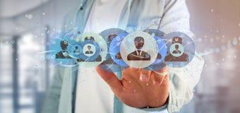 Equipe guardar uma rendição profissional do conceito 3d da rede do contato Foto de Stock Royalty Free