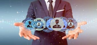 Equipe guardar uma rendição profissional do conceito 3d da rede do contato Fotografia de Stock Royalty Free