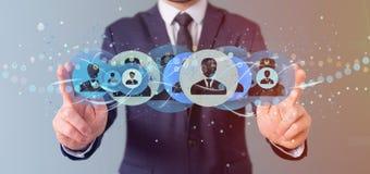 Equipe guardar uma rendição profissional do conceito 3d da rede do contato Fotos de Stock Royalty Free